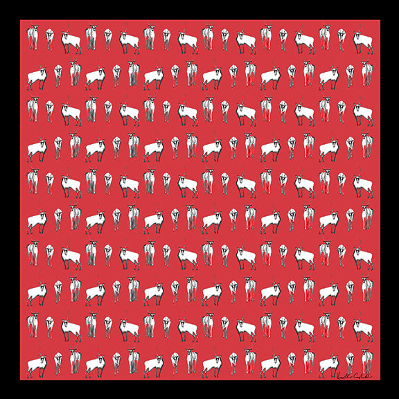 Silk Carre´Winter Animals Caribou Herd - Aurora Red