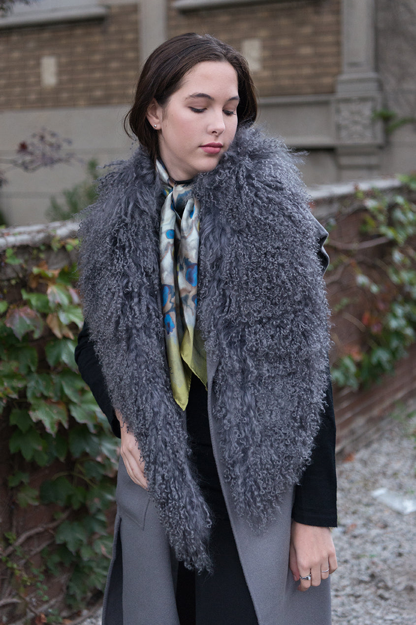 Longline Wool Vest Downy Grey