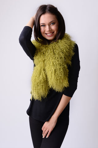 Mongolian Wear-3-Ways Shawl Golden Lime