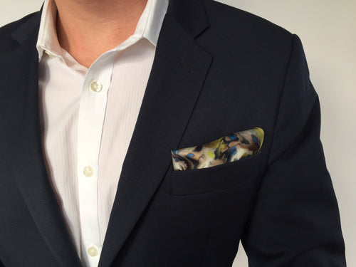Silk Pocket Square Abstract Floral Golden Lime
