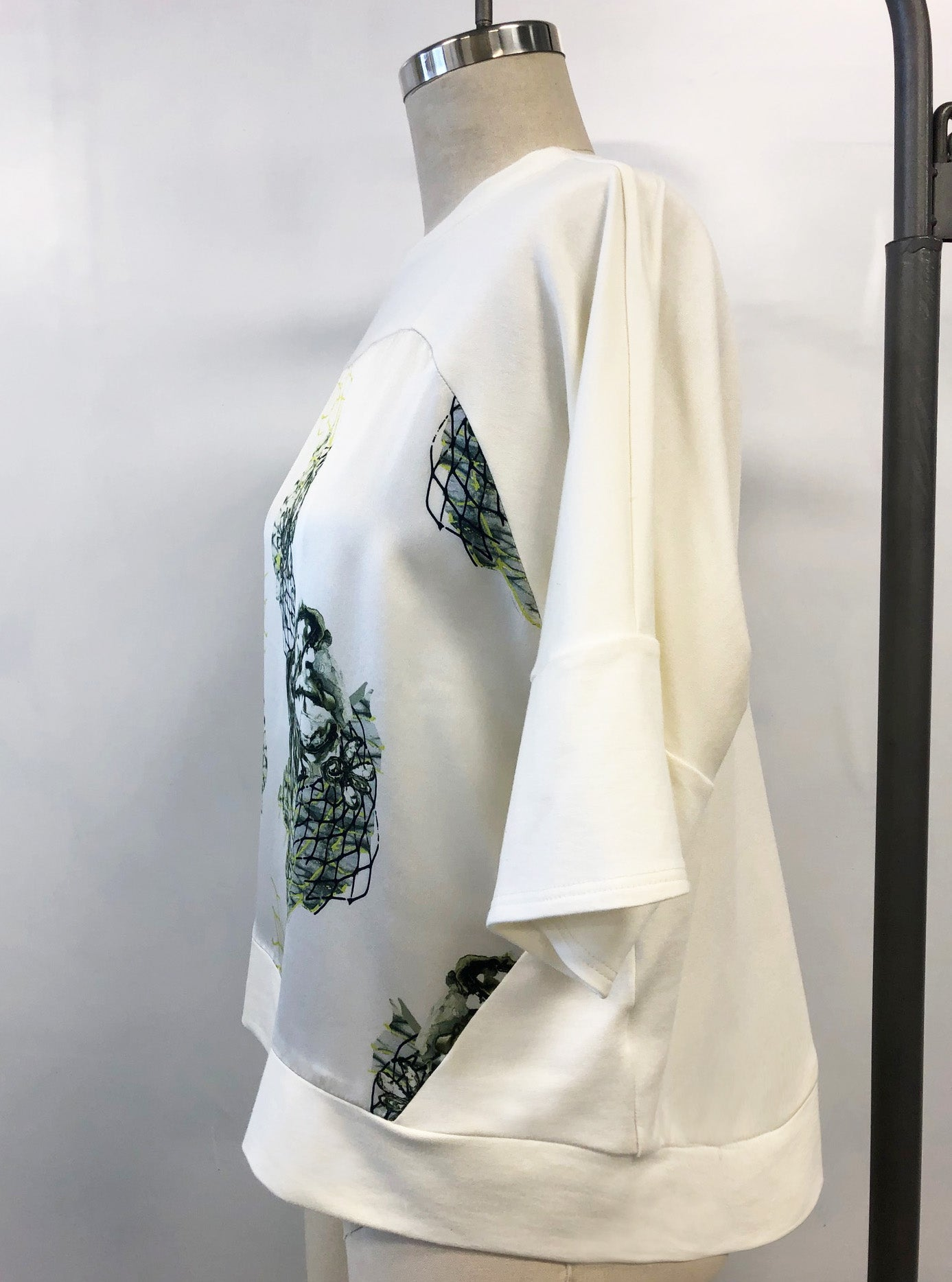 NEW! Short Sleeve Silk Sweatshirt Off White Oyster Nets