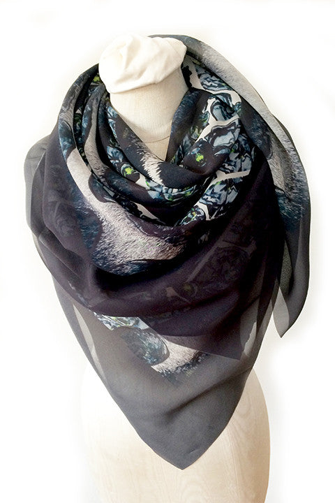 Large Sheer Georgette Scarf Night is My Oyster - Grey