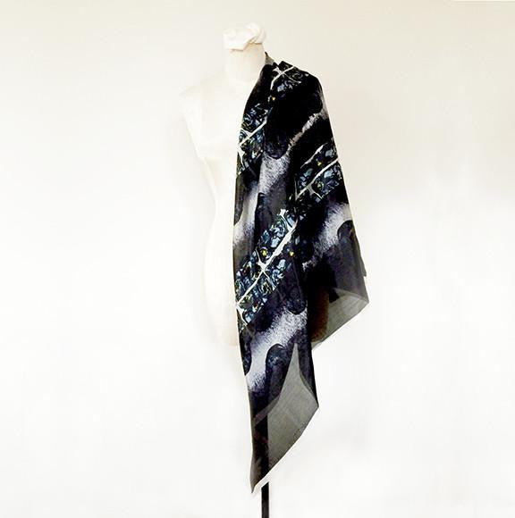 Large Sheer Georgette Scarf Night is My Oyster - Black