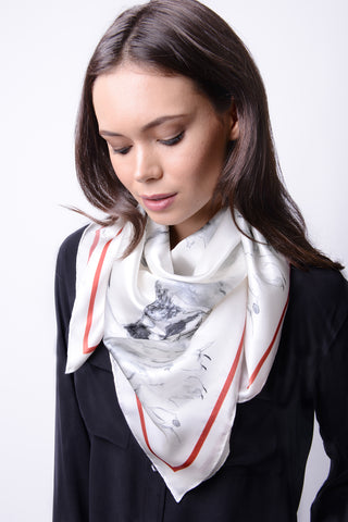 Silk Carre´Winter Animals Caribou Herd - Black - 10% to WWF