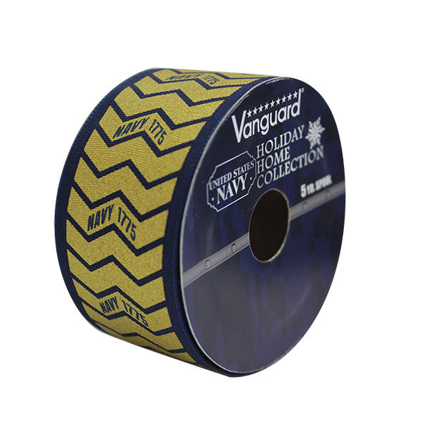 Navy Decorative Wired Ribbon Gold with Blue Edge 5 yard Spool 1.5