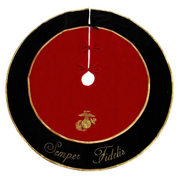 Marine Corps Tree Skirt: Semper Fidelis and Eagle, Globe and Anchor