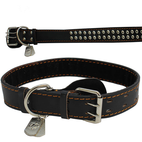 Pet Insignia - XXL SPIKED LEATHER COLLAR WITH EGA TAG