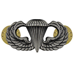 Army Badge: Parachute - silver oxidized