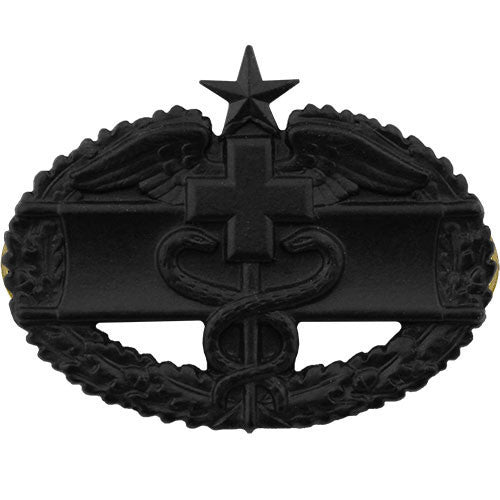 Army Badge: Combat Medical Second Award - black metal