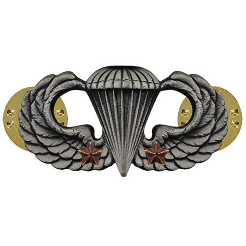 Army Badge: Combat Parachute Second Award - silver oxidized