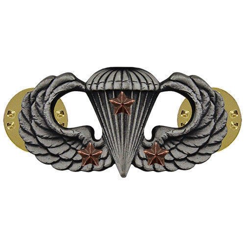 Army Badge: Combat Parachute Third Award - silver oxidized