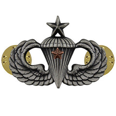 Army Badge: Senior Combat Parachute First Award - silver oxidized
