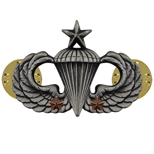 Army Badge: Senior Combat Parachute Second Award - silver oxidized