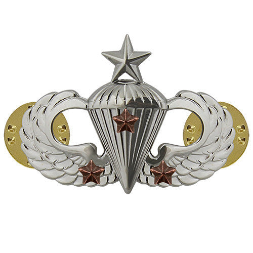 Army Badge: Senior Combat Parachute Third Award - mirror finish