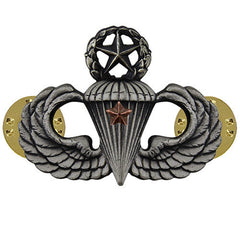 Army Badge: Master Combat Parachute First Award - silver oxidized