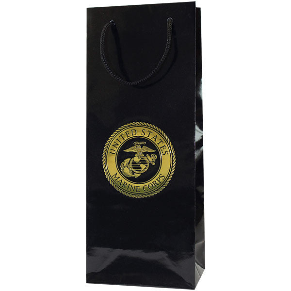 Gift Bag: BLACK GLOSS WITH GOLD United States Marine Corps Emblem