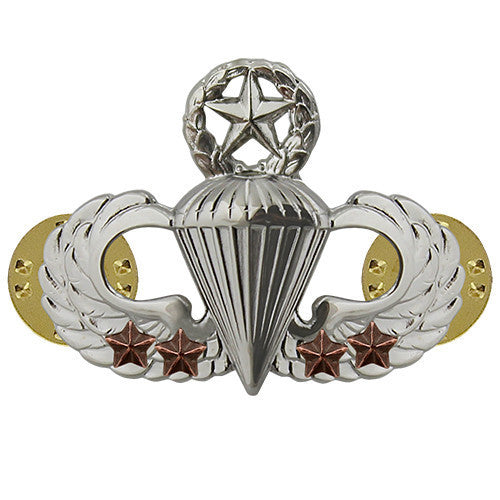 Army Badge: Master Combat Parachute Fourth award - mirror finish