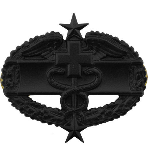 Army Badge: Combat Medical Third Award - black metal