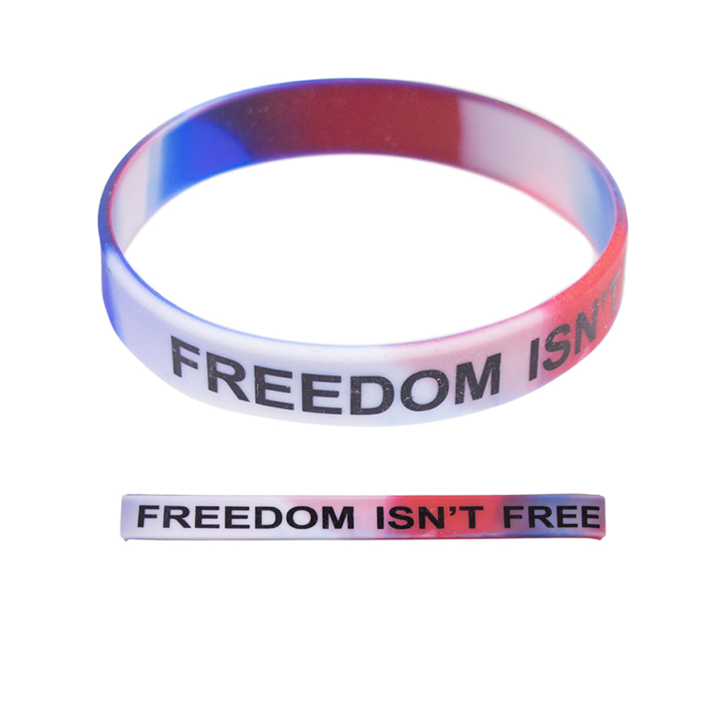 Bracelet: Red/White/Blue Silicone - Printed in Black
