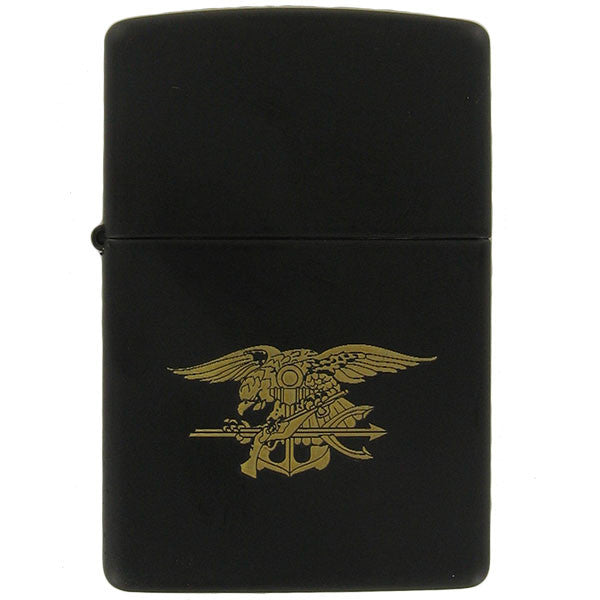 Zippo Lighter: Black with Gold Special Warfare Seal