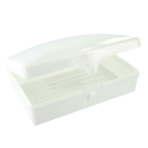Soap Box: White - soap box with plastic lid