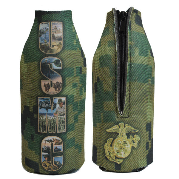 Marine Corps Digital Koozie: Bottle Cover with zipper