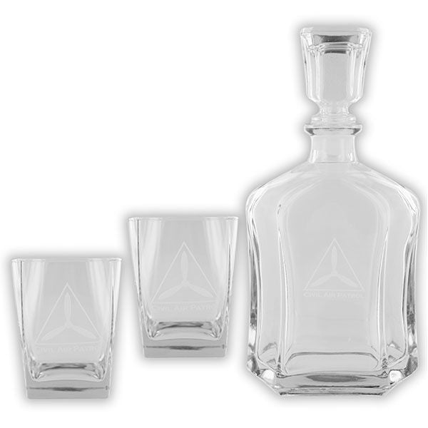 Civil Air Patrol: Glassware CAP Liquor Decanter set with etched logo
