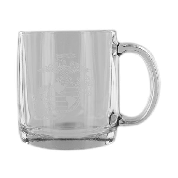 Glass Coffee Mug Etched EGA Vanguard