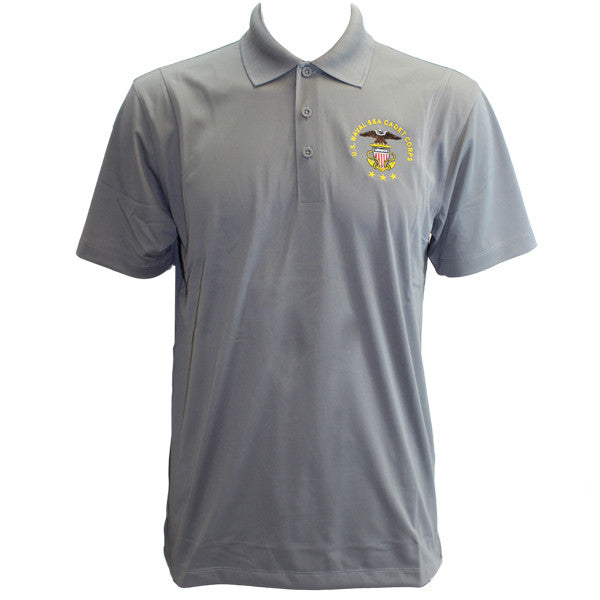 Mens Concrete Grey Short Sleeve Polo Shirt Embroidered With Usnscc