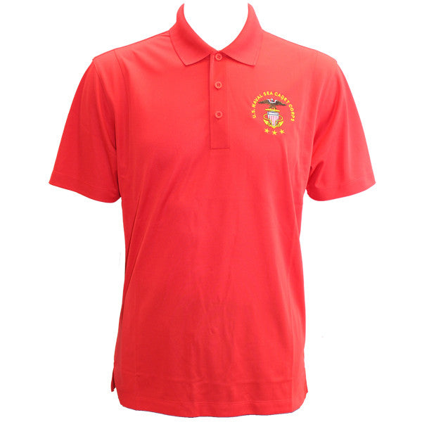Men's True Red Short Sleeve Polo Shirt Embroidered With USNSCC Seal