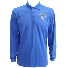 Men's True Royal Blue Long Sleeve Polo Shirt Embroidered With USNSCC Seal