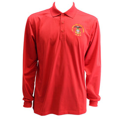 Men's True Red Long Sleeve Polo Shirt Embroidered With USNSCC Seal