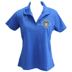 Ladies True Royal Blue Short Sleeve Polo Shirt Embroidered With USNSCC Seal