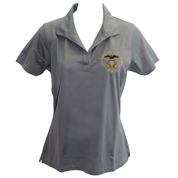 725601b3 Ladies Concrete Grey Short Sleeve Polo Shirt Embroidered With USNSCC Seal