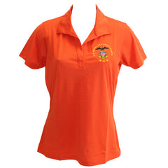 Ladies Deep Orange Short Sleeve Polo Shirt Embroidered With USNSCC Seal