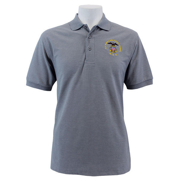 23fe5f67 Men's Cool Grey Short Sleeve Polo Shirt Embroidered With USNSCC Seal ...