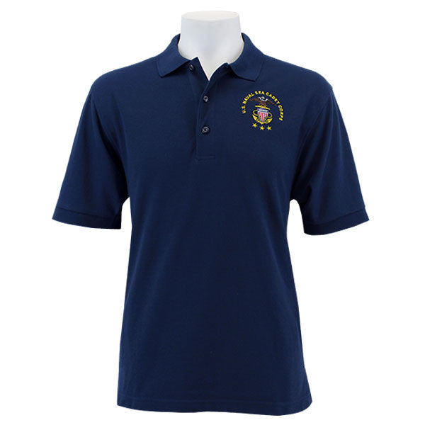 Men's Navy Blue Short Sleeve Polo Shirt Embroidered With USNSCC Seal