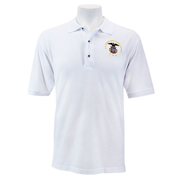Men's White Short Sleeve Polo Shirt Embroidered With USNSCC Seal