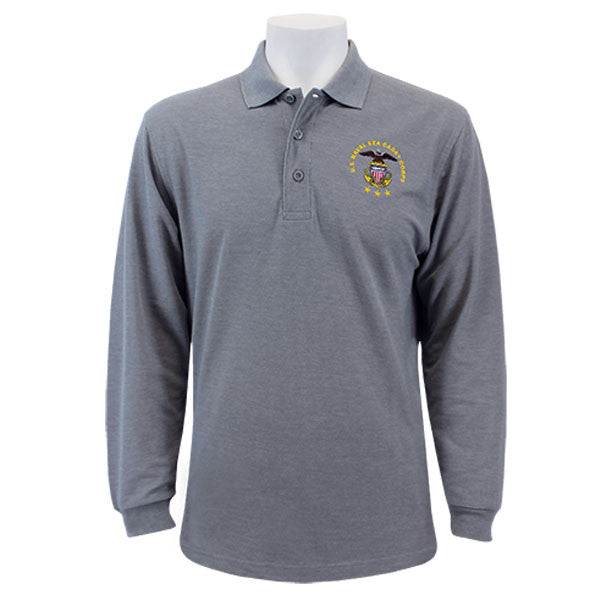 e53c2242 Men's Cool Grey Long Sleeve Polo Shirt Embroidered With USNSCC Seal ...
