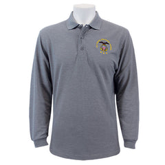 Men's Cool Grey Long Sleeve Polo Shirt Embroidered With USNSCC Seal