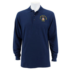 Men's Navy Blue Long Sleeve Polo Shirt Embroidered With USNSCC Seal