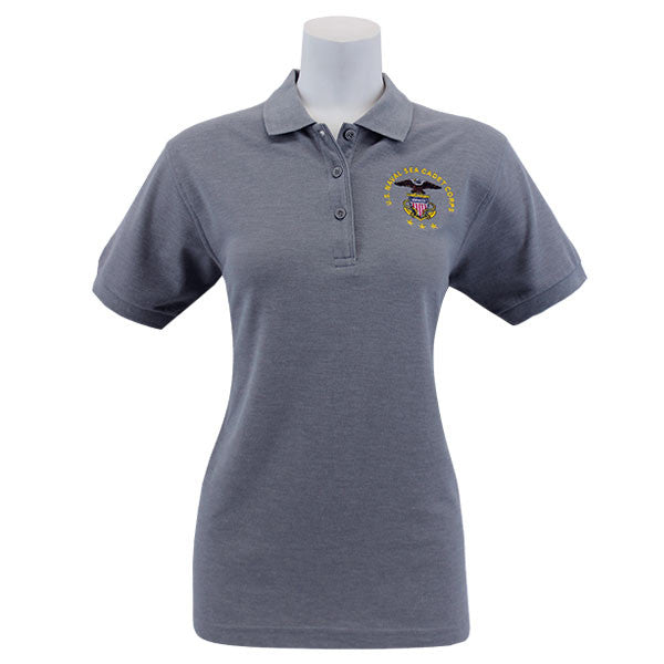 Ladies Cool Grey Short Sleeve Polo Shirt Embroidered With USNSCC Seal