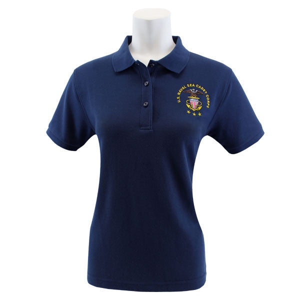 Ladies Navy Blue Short Sleeve Polo Shirt Embroidered With USNSCC Seal