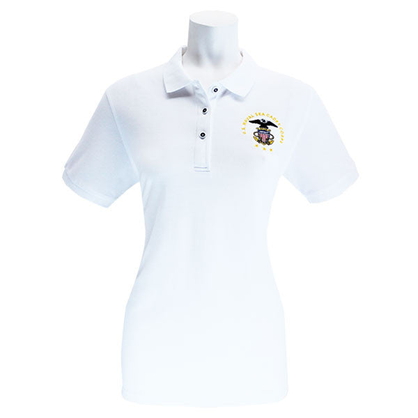 aca57c55 Ladies White Short Sleeve Polo Shirt Embroidered With USNSCC Seal ...