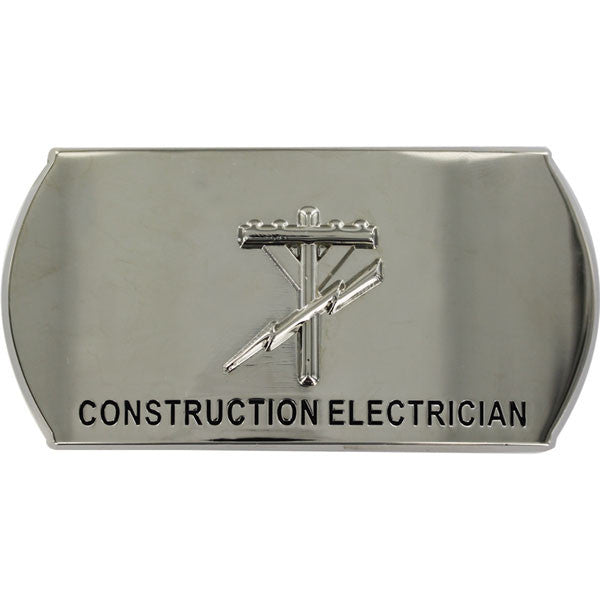 Navy Enlisted Specialty Belt Buckle: Construction Electrician: CE