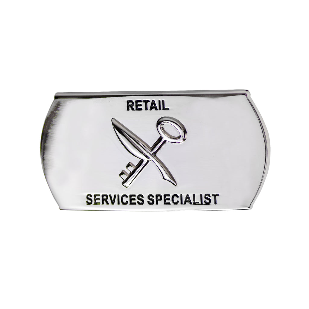 Navy Enlisted Specialty Belt Buckle: Retail Services Specialist: RS