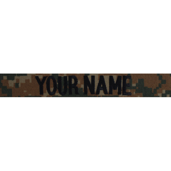 Marine Corps Name Tape: Woodland Digital -  (NAME IS REQUIRED-IF NO NAME IS GIVEN LINE ITEM WILL BE CANCELLED)