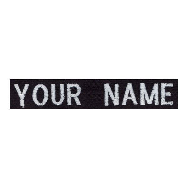 Navy Name Tape: Embroidered on Black -  (NAME IS REQUIRED-IF NO NAME IS GIVEN LINE ITEM WILL BE CANCELLED)