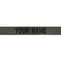 Individual Name Tape Embroidered on Olive Drab -  (NAME IS REQUIRED-IF NO NAME IS GIVEN LINE ITEM WILL BE CANCELLED)