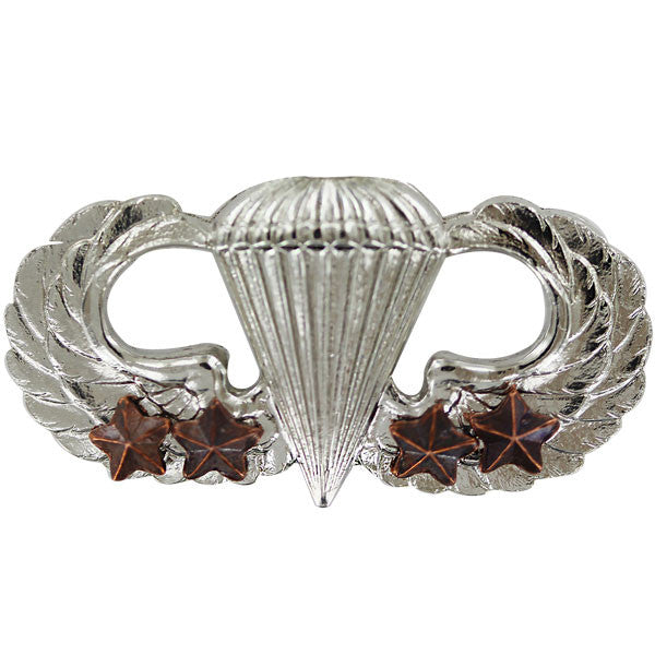 Army Badge: Basic Combat Parachute Fourth award - mirror finish